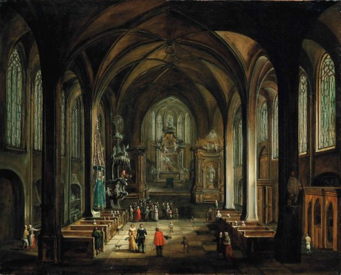 Interior with a friar preaching, a follower_of_hendrick_van_steenwyck_ii_interior_of_a_gothic_church_with)