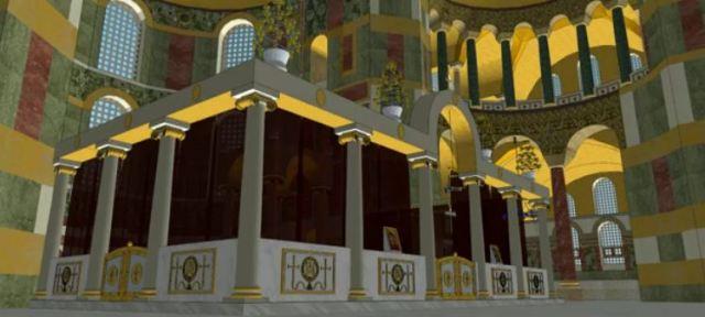 Reconstitution-du-sanctuaire-de-Sainte-Sophie-à-Constantinople-vue-de-dessus-notez-la-présence-du-ciborium-au-dessus-de-lautel-vue-latérale-du-sanctuaire.jpg