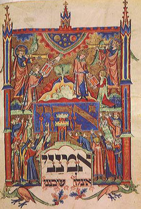Moses receiving the Ten Commandments, from a Jewish prayer book written in medieval Germany, about 1290 AD (Source)