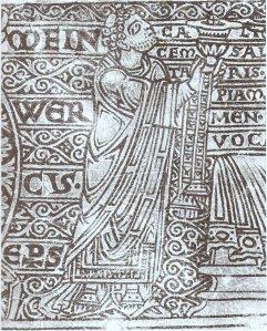 Bischof Meinwerk auf Tragaltar Helmarshausen 1110